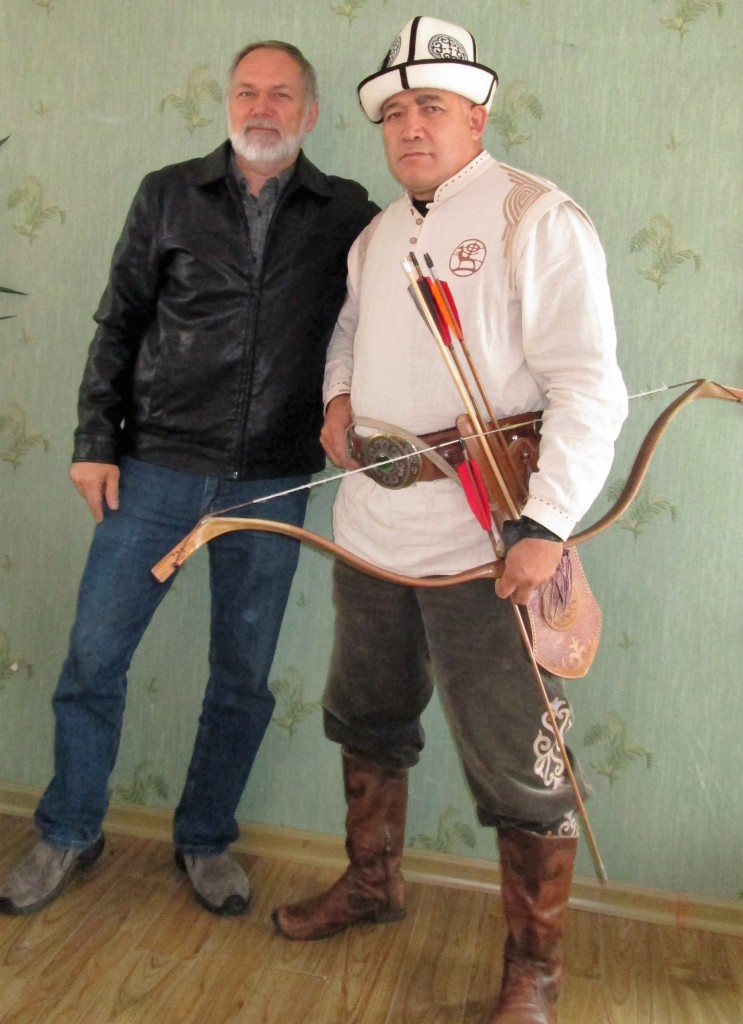 Dr. Lively posing with Almaz Azunov, leader of the Nomadic Cultural Revival Movement in Kyrgyzstan.  https://www.facebook.com/jolchoro
